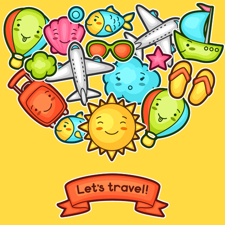 airplane travel: Cute travel background with kawaii doodles. Summer collection of cheerful cartoon characters sun, airplane, ship, balloon, suitcase and decorative objects.