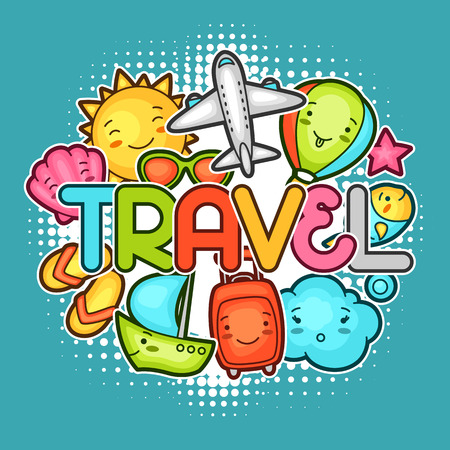 decorative objects: Cute travel background with kawaii doodles. Summer collection of cheerful cartoon characters sun, airplane, ship, balloon, suitcase and decorative objects.