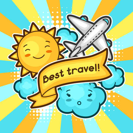 cartoon cloud: Cute travel background with kawaii doodles. Summer collection of cheerful cartoon characters sun, airplane, cloud and decorative objects.