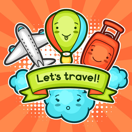 decorative objects: Cute travel background with kawaii doodles. Summer collection of cheerful cartoon characters cloud, airplane, balloon, suitcase and decorative objects.