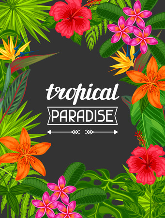 frangipani flower: Tropical paradise card with stylized leaves and flowers. Image for advertising booklets, banners, flayers.