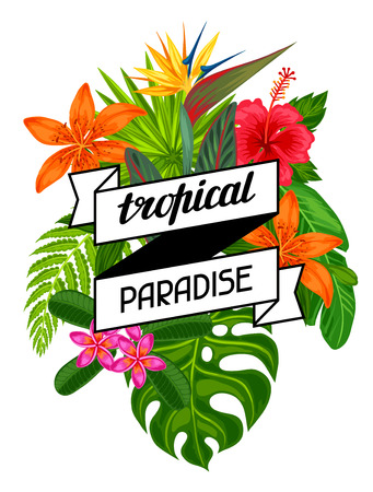 bird of paradise plant: Tropical paradise card with stylized leaves and flowers. Image for advertising booklets, banners, flayers.