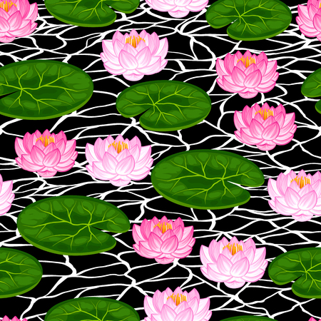 lotus flowers: Natural seamless pattern with lotus flowers and leaves. Background made without clipping mask. Easy to use for backdrop, textile, wrapping paper.