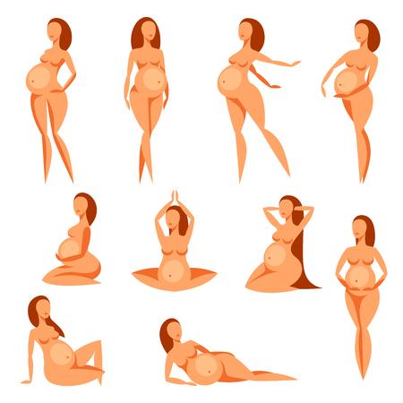 siluetas de mujeres: Conjunto de siluetas estilizadas mujeres embarazadas. Ilustración para sitios web, revistas y folletos.