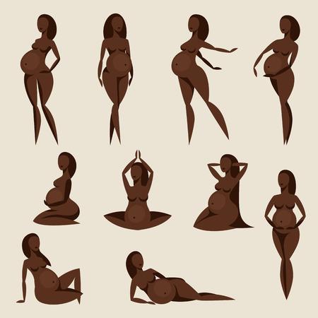 niños negros: Conjunto de siluetas estilizadas mujeres embarazadas. Ilustración para sitios web, revistas y folletos.