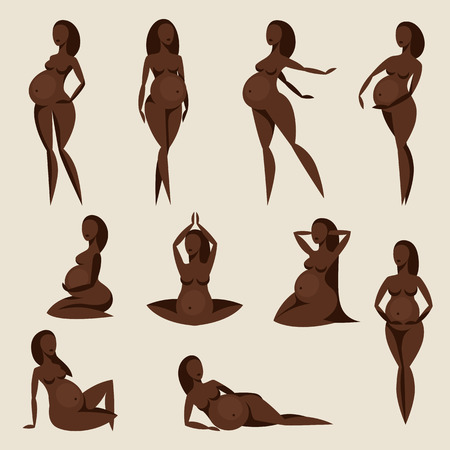 black woman: Set of stylized silhouettes pregnant women. Illustration for websites, magazines and brochures.