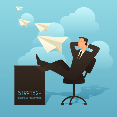 articles: Strategy business conceptual illustration with businessman and paper planes. Image for web sites, articles, magazines.