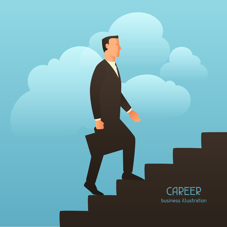 upstairs: Career business conceptual illustration with businessman going upstairs. Image for web sites, articles, magazines.