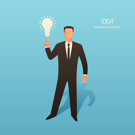 conceptual bulb: Idea business conceptual illustration with businessman and light bulb. Image for web sites, articles, magazines.