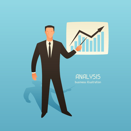 articles: Analysis business conceptual illustration with businessman and growth graph. Image for web sites, articles, magazines.