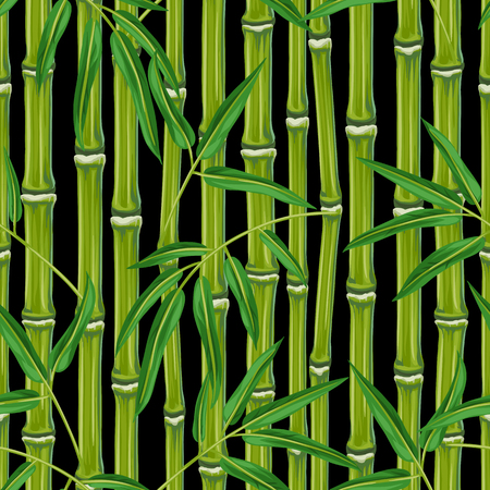 textile background: Seamless pattern with bamboo plants and leaves. Background made without clipping mask. Easy to use for backdrop, textile, wrapping paper. Illustration