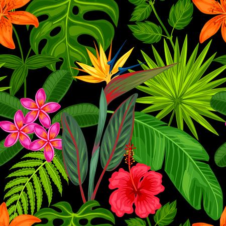 Seamless avec des plantes tropicales, des feuilles et des fleurs. Contexte faite sans masque d'écrêtage. Facile à utiliser pour toile de fond, le textile, le papier d'emballage. Banque d'images - 55793086