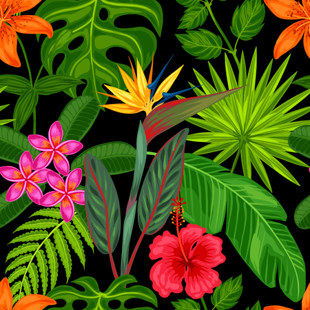 Seamless pattern with tropical plants, leaves and flowers. Background made without clipping mask. Easy to use for backdrop, textile, wrapping paper. Zdjęcie Seryjne - 55793086
