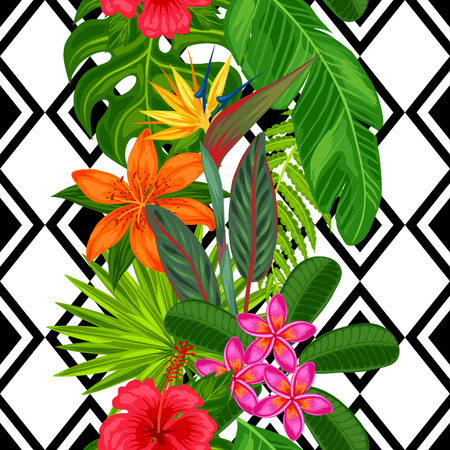 monstera leaf: Seamless pattern with tropical plants, leaves and flowers. Background made without clipping mask. Easy to use for backdrop, textile, wrapping paper.