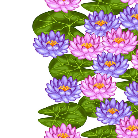 Natural seamless border with lotus flowers and leaves. Background made without clipping mask. Easy to use for backdrop, textile, wrapping paper.