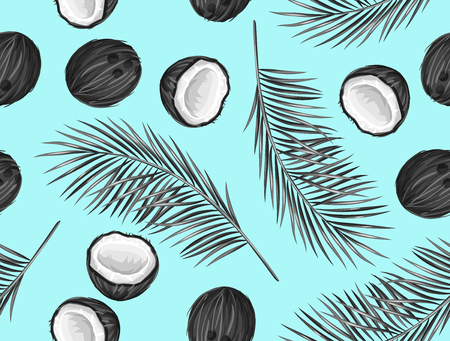 Seamless pattern with coconuts. Tropical abstract background in retro style. Easy to use for backdrop, textile, wrapping paper, wall posters. 일러스트