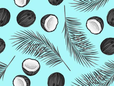 sin patrón, con cocos. Fondo abstracto tropical en estilo retro. Fácil de usar para el telón de fondo, textiles, papel de envolver, pared carteles. Ilustración de vector