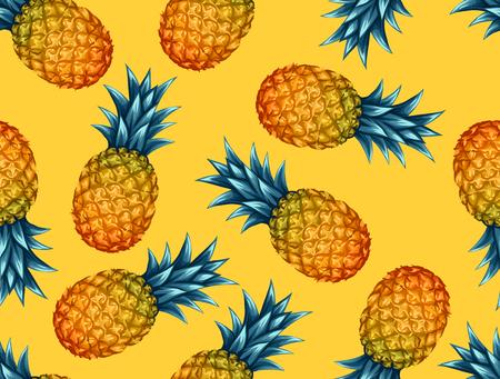 retros: Patrón sin fisuras con las piñas. Fondo abstracto tropical en estilo retro. Fácil de usar para el telón de fondo, textiles, papel de envolver, pared carteles.