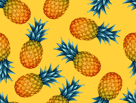 Seamless pattern with pineapples. Tropical abstract background in retro style. Easy to use for backdrop, textile, wrapping paper, wall posters. Фото со стока - 55791324
