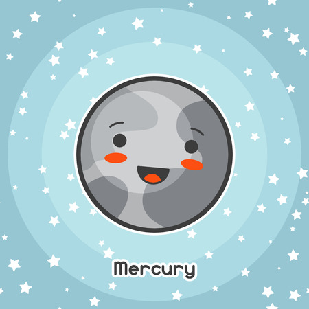 Kawaii space card. Doodle with pretty facial expression. Illustration of cartoon mercury in starry sky.