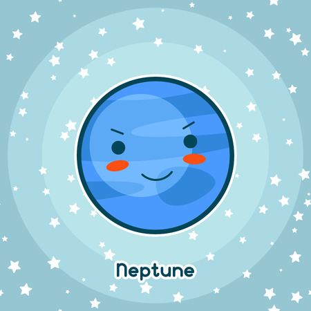 neptune: Kawaii space card. Doodle with pretty facial expression. Illustration of cartoon neptune in starry sky.
