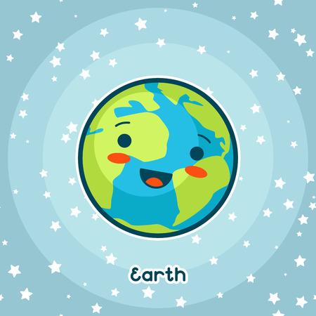 Carta spaziale kawaii. Doodle con bella espressione facciale. Illustrazione della terra del fumetto in cielo stellato. Vettoriali