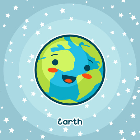 planet earth: Kawaii space card. Doodle with pretty facial expression. Illustration of cartoon earth in starry sky.