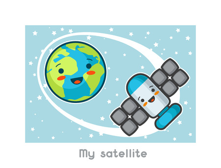 sputnik: My satellite. Kawaii space funny card. Doodles with pretty facial expression. Illustration of cartoon earth and sputnik.