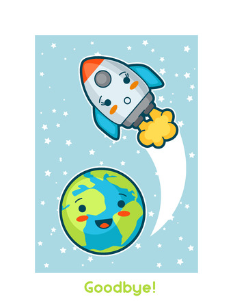 space cartoon: Goodbye.Kawaii space funny card. Doodles with pretty facial expression. Illustration of cartoon earth and rocket.