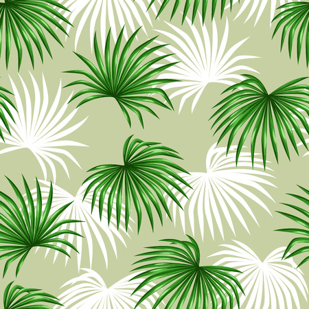 leaf pattern: Seamless pattern with palms leaves. Decorative image tropical leaf of palm tree Livistona Rotundifolia. Background made without clipping mask. Easy to use for backdrop, textile, wrapping paper.