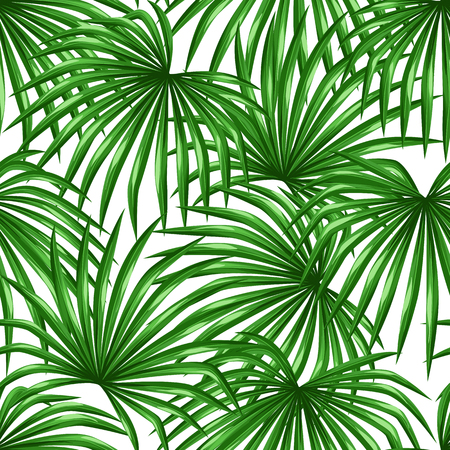 eco tourism: Seamless pattern with palms leaves. Decorative image tropical leaf of palm tree Livistona Rotundifolia. Background made without clipping mask. Easy to use for backdrop, textile, wrapping paper.