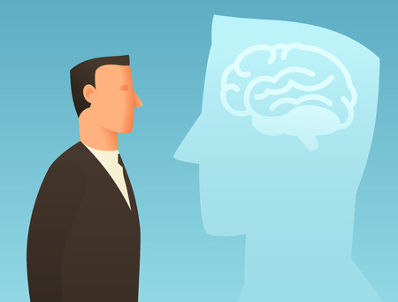 articles: Brainstorm business conceptual illustration with businessman and brain. Image for web sites, articles, magazines. Illustration