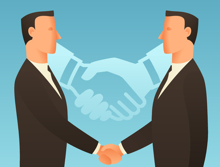 articles: Partnership business conceptual illustration with businessmen shaking hands. Image for web sites, articles, magazines.