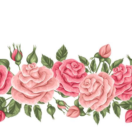 Frontera inconsútil con los rosas de la vendimia. retro flores decorativas. Fácil de usar para el telón de fondo, textiles, papel de envolver, papel pintado.