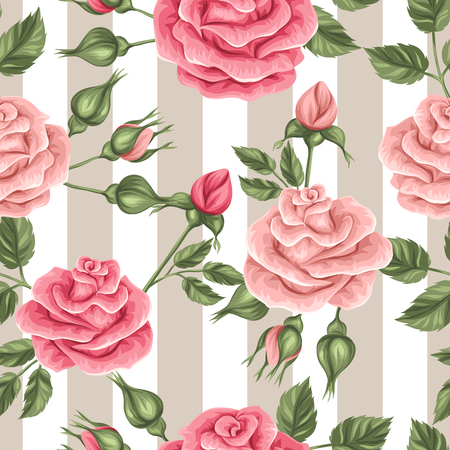 shabby: Seamless pattern with vintage roses. Decorative retro flowers. Easy to use for backdrop, textile, wrapping paper, wallpaper. Illustration