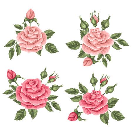 Bloemen elementen met uitstekende rozen. Decoratieve retro bloemen. Voorwerpen voor decoratie trouwkaarten, romantische kaarten.