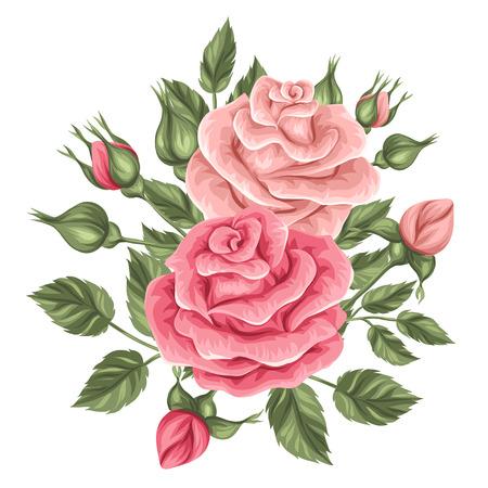 Bloemenelement met vintage rozen. Decoratieve retro bloemen. Object voor decoratie huwelijksuitnodigingen, romantische kaarten.