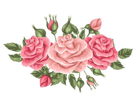 ramo de flores: elemento floral con rosas de la vendimia. retro flores decorativas. Objeto para invitaciones de boda, tarjetas de decoración romántica. Vectores