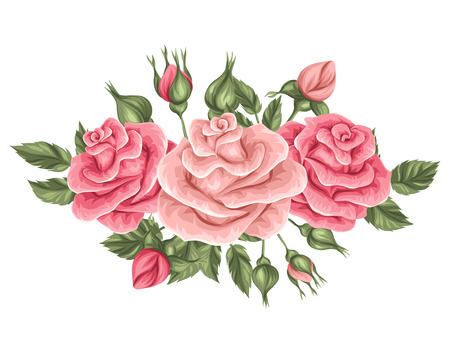 Floral element with vintage roses. Decorative retro flowers. Object for decoration wedding invitations, romantic cards.