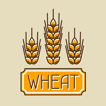 Emblem with wheat. Agricultural image natural golden ears of barley or rye. Objects for decoration bread packaging, beer labels.