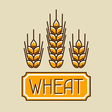 cebada: Emblema con el trigo. imagen Agrícola naturales orejas de oro de la cebada o centeno. Objetos de decoración para el envasado de pan, etiquetas de cerveza.