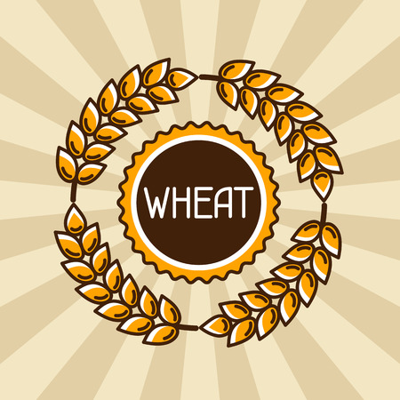 rye: Emblem with wheat. Agricultural image natural golden ears of barley or rye. Objects for decoration bread packaging, beer labels.