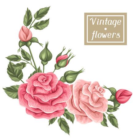 Elemento floral con rosas de la vendimia. retro flores decorativas. Objeto para invitaciones de boda, tarjetas de decoración romántica. Foto de archivo - 56391945