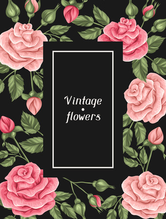 background frame: Background with vintage roses. Decorative retro flowers. Image for wedding invitations, romantic cards, booklets. Illustration