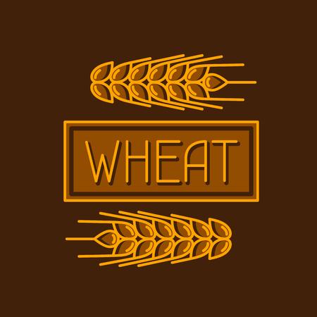 produits céréaliers: Emblème de blé. Image agricole naturelles oreilles d'or d'orge ou de seigle. Objets pour l'emballage de pain de décoration, des étiquettes de bière.