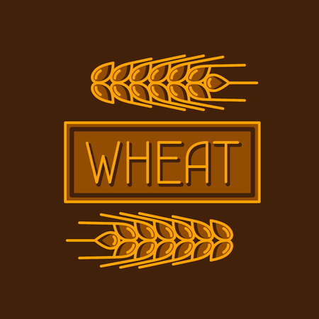 grains: Emblem with wheat. Agricultural image natural golden ears of barley or rye. Objects for decoration bread packaging, beer labels.