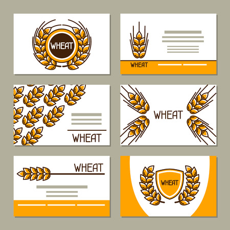 industry design: Business cards with wheat. Design for agricultural, bakery and beer industry. Illustration
