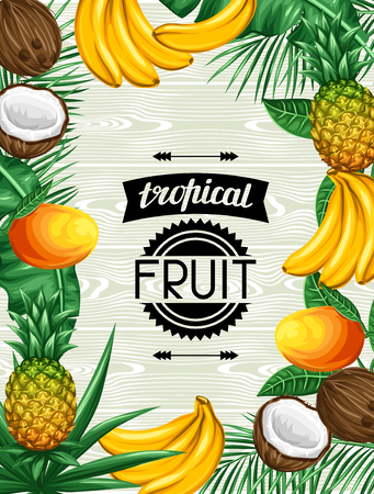 tropical fruits: Background with tropical fruits and leaves. Design for advertising booklets, labels, packaging, menu.