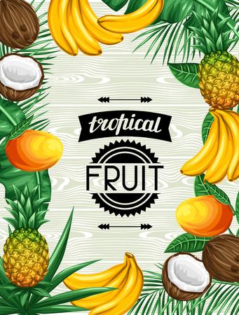 frutas tropicales: Fondo con las frutas y las hojas tropicales. Diseño de folletos publicitarios, etiquetas, envases, menú.