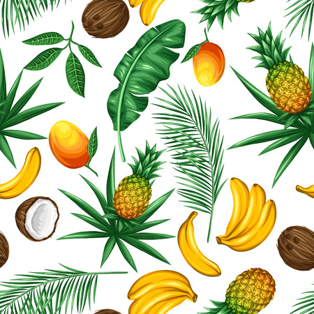 Seamless pattern with tropical fruits and leaves. Background made without clipping mask. Easy to use for backdrop, textile, wrapping paper. Vettoriali